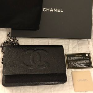 CHANEL Black Caviar Wallet on Chain
